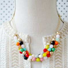 Colorful Three Strand Beaded Statement Necklace-  Gold Or Silver Chains