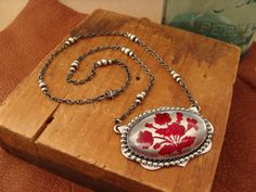 Josephine--Handcrafted Sterling Silver Necklace with Vintage Glass Cabochon  by luckstruck