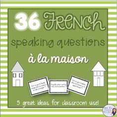 Want to get your French students using their house and home words? Need help with a fun way to practice speaking?This NO PREP activity using French house vocabulary is always a favorite in my class.It can be used after learning the parts of the house and furniture or as a back to school review for advancing students.There are 36 questions in all.