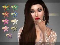 Created for: The Sims 4  Golden ring with different colors of stones forming flowers. http://www.thesimsresource.com/downloads/details/category/sims4-accessories-female-rings/title/[s4grace]--flower-ring/id/1319803/