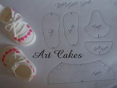 Baby Tennis Shoes Template photo by Art Cakes. Could be made into shoes for my baby puppets :-) Baby Tennis Shoes, Tennis Cake, Shoe Template, Cake Templates, Fondant Figures, Fondant Baby Shoes, Fondant Bow, Fondant Flowers, Fondant Cakes