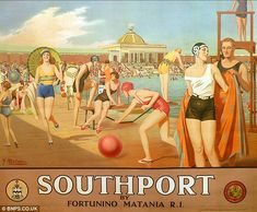 Vintage British Railway Poster Southport for summer holidays by the sea