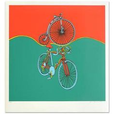 """""""Bicycle"""" Limited Edition Serigraph by Jack Brusca (1937-1993), Numbered, Signed"""