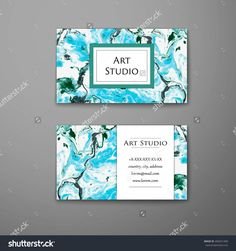 Blue water background customized template pinterest business vector business card with marble texture hand drawn artwork paint on water abstract colourmoves