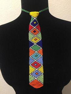 Beaded tie necklace
