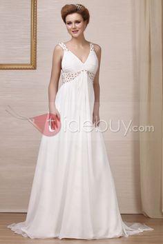 エンパイアVネックバックレス床までの長さコートトレインビーズウェディングドレス
