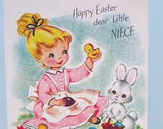 Cute Vintage Easter Card Girl with Bunny and Chicks