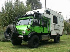 Unimog Doka Off-road Camper, with exoskeleton around the cab. How cool is this?