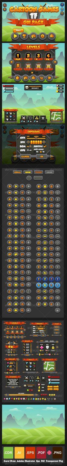 Cartoon Games GUI Pack 17 - Web Elements Vectors