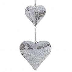 Hanging Silver Mirror Mosaic Duo Heart Ornament for The Garden or for sale online Wind Chime Parts, Wind Chimes For Sale, Wind Chimes Sound, Diy Wind Chimes, Garden Decor Items, Mirror Mosaic, Mosaic Garden, Hanging Hearts, Heart Ornament