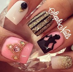 What Christmas manicure to choose for a festive mood - My Nails Disney Acrylic Nails, Disney Nails, Perfect Nails, Gorgeous Nails, Cute Nails, Pretty Nails, Hair And Nails, My Nails, Cinderella Nails