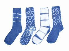 Itajime Shibori Socks: hand dyed indigo