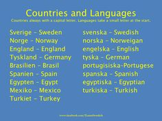 Countries & Languages | Svenska