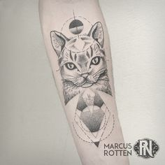 Cat Tattoo, geometric, dotwork, blackwork, pointllism, forearm by Marcus Rotten @ Planet Needle Tattoo Studio, Brazil.