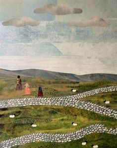 Walking the Moors (detail from a Brontë bookmark). Cut paper collage by Amanda White.