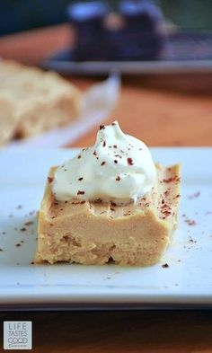 Just 3 ingredients, no-bake, and low carb too! This Peanut Butter Pie | by Life Tastes Good is a rich, creamy dessert that really satisfies when you want something sweet to eat.: