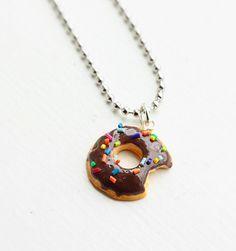 Chocolate Glazed Donut Necklace Miniature Food Necklace - Miniature Food Jewelry