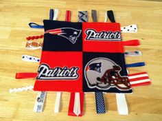 New England Patriots Football Taggie Blankie for a Baby Boy Sensory Toy on Etsy, $9.00