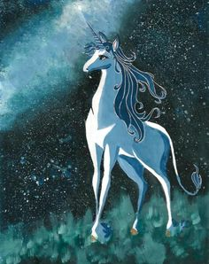 The Last Unicorn with a stunning background and strokes of beautifully detailed colour and shading. The picture shows the majesty and grace of the unicorn and her connection the the world. Wonderful picture. :)