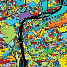 Prague, Czech Republic, Colorful Vector Map on Black by Hebstreits #stockimage #design #map #colorful #vector