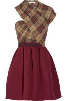 Asymmetric twill tartan dress