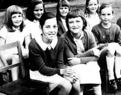 Diana Spencer (back row, far left ) with classmates.