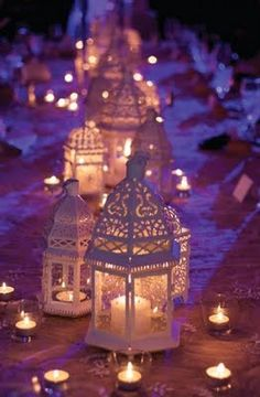 Learn how to use lanterns as decorations in your wedding reception! Lanterns provide romantic and soft lighting which makes them perfect for your wedding reception. Especially if you're having an outdoor wedding, lanterns make the perfect lighting. Arabian Nights Party, Arabian Party, Moroccan Lanterns, Moroccan Lamp, Moroccan Lighting, Candle Lanterns, White Lanterns, Green Candles, Patio Lanterns
