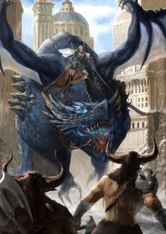Dragon Rider in the City Fantasy Kunst, Dark Fantasy Art, Fantasy Artwork, Fantasy World, Magical Creatures, Fantasy Creatures, Dragon Artwork, Dragon Rider, Creature Concept