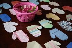 mitten match-up - happy hooligans - homemade matching game for kids - GREAT FOR FINE MOTOR SKILLS