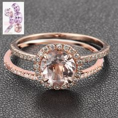 Round Morganite Engagement Ring Sets Pave Diamond Wedding 14K Rose Gold 7mm