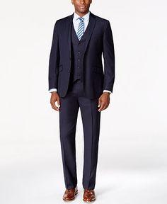 42c45da0e0b76d Kenneth Cole Reaction Navy Vested Pinstripe Slim-Fit Suit & Reviews - Suits  & Tuxedos - Men - Macy's