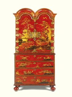 A QUEEN ANNE CHINOISERIE SCARLET AND GILT JAPANNED CABINET ON SECRÉTAIRE CHEST CIRCA 1710