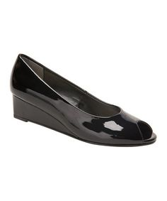 Another great find on #zulily! Black Paula Patent Leather Wedge #zulilyfinds