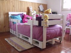 Checkout here these DIY pallet ideas for kids that are sure to boost up the fun of your kids! The awesome pallet ideas would also help your kids to learn new Pallet Toddler Bed, Pallet Kids, Pallet Crafts, Diy Pallet Projects, Indoor Furniture Design, Kids Furniture, Playhouse Furniture, Pallet Playhouse, Furniture Vintage