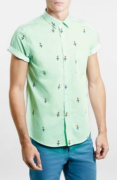 Topman Short Sleeve Parrot Print Shirt available at #Nordstrom