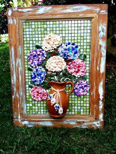 Hortênsias Mosaico Flores Picassiette.