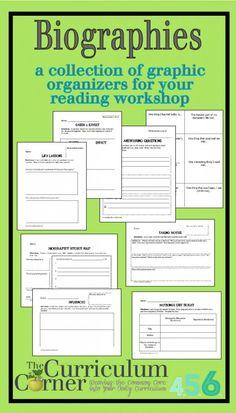 Biography Graphic Organizers by The Curriculum Corner 5th Grade Writing, 6th Grade Ela, 6th Grade Reading, Fourth Grade, Third Grade, Teaching Social Studies, Teaching Writing, Teaching English, Writing Help