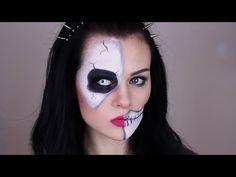 Skeleton Make-Up Tutorial - Half Skull Make-Up for Halloween. Easy Skeleton MakeupSkeleton ...