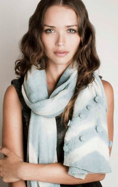 Blue Scarf, Ombre Pastel Fashion with zigzag Handmade Texture Bubbles.. $98.00, via Etsy.