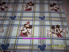 Disney Blue Mickey  Minnie Mouse Plaid  Fleece Blanket by Scrunchiesbysherry