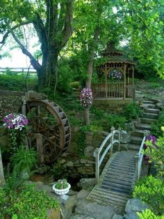 Love the water wheel!  This would be my backyard minus the gazebo.