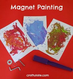 Painting Magnet Painting is a fun process art activity that kids will really enjoy!Magnet Painting is a fun process art activity that kids will really enjoy! Art Activities For Kids, Preschool Activities, Art For Kids, Preschool Painting, Preschool Art, Process Art Preschool, Experiment, Messy Art, Kindergarten Science