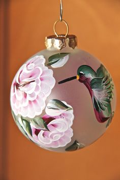 Hand painted frosted glass Christmas tree holiday ornament, red roses, hummingbirds