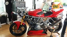 Air cooled Ducati in the man cave,  A race preped 800 SuperSport. 2vSBK!
