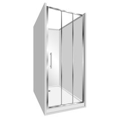 Features Low profile tray with 40mm upstand Tray is Rear Centre Waste. 1950mm high glass 6mm safety glass. Stacker Door  Reversible – can open left to right or right to left. Available in a Silva finish (no door swing out means no water on the floor and water drains back into the shower)