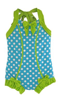 Sale! Rebel Belle Swimsuit in Turquoise Dot/Lime Green: SS16 Collection (Size 2, 3, 4 & 7) ***Markdo