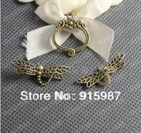 ( 15364 ) joyería de moda, accesorios, encanto, colgante, aleación de bronce antigua de 25 * 22 mm, 33 * 13 MM OT pulsera del corchete 30 unids