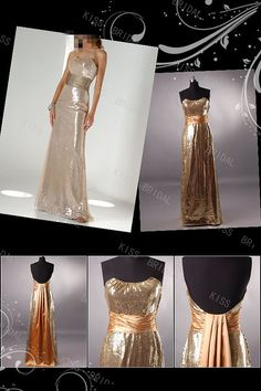 Sheath strapless sleeveless floor-length gold sequins evening dresses on Etsy, $139.00