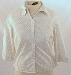 Beautiful Cappagallo Petite Size PL Cotton Blend Polka Dot 3/4 Sleeve Blouse #Cappagallo #Blouse