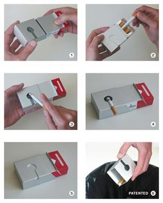 The ASPAK was designed to prevent smokers from tossing their cigarette buts on the street. A pack of cigarettes fits exactly in the ASPAK so it doesn't take any extra space in your pocket. Packaging Design Inspiration, Creative Inspiration, Leather Cigarette Case, Industrial Design Sketch, Design Theory, Creative Advertising, Woodworking Projects Diy, Brand Packaging, Box Design